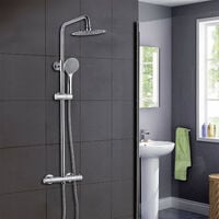 AICA Thermostatic Exposed Shower Mixer Bathroom Twin Head Large Round Bar Set Chrome
