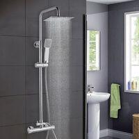 AICA Bathroom Shower Mixer Thermostatic Set Twin Head Chrome Exposed Valve Square Set