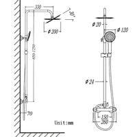AICA Bathroom Shower Mixer Thermostatic Set Twin Head Chrome Exposed Valve Round Set