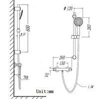 AICA Bathroom Shower Mixer Thermostatic Chrome Exposed Valve Round Set