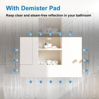800x600 Illuminated Led Bathroom Mirror with Demister Pad [IP44 Rated] Rectangular Backlit Wall Mounted,Touch Sensor Switch