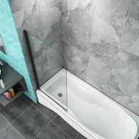 800x1400mm Modern Black Framed 180 Pivot Bath Shower Screen 5mm Glass Panel
