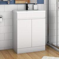 500mm Floor Standing Bathroom Vanity Unit with Basin-Doors,Matte White