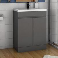 500mm Floor Standing Bathroom Vanity Unit with Basin-Doors,Matte Grey