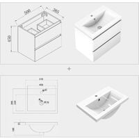 500mm Bathroom Wall Hung Vanity Unit with Sink,2 Soft Drawers,Matte White