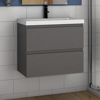 500mm Bathroom Wall Hung Vanity Unit with Sink,2 Soft Drawers,Matte Grey