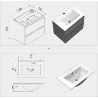 600mm Elegant Modern Bathroom Wall Hung Vanity Unit with Sink 1 Tap Hole,2 Drawers Soft Closing Matte Grey Bathroom Furniture