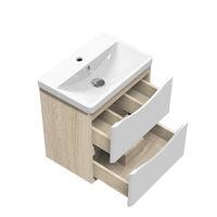 500mm Designer Wall Hung Bathroom Sink Unit,Oak Body + 2 Matte White Drawers