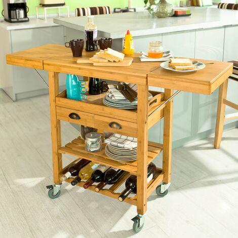 Sobuy Carrello Cucina Credenza Piano E Allungabile Con Ruote Fkw25 N