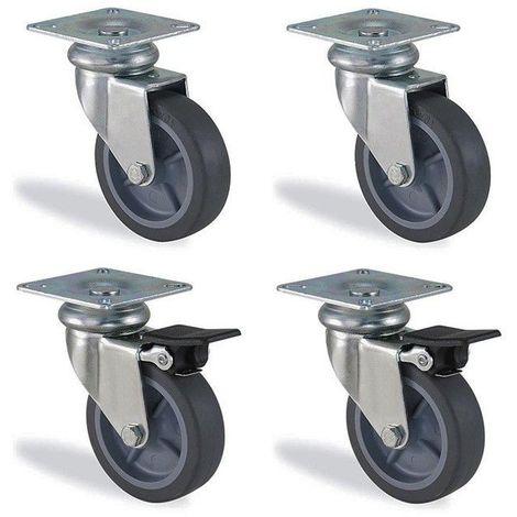 Lot roulettes pivotante et pivotante à frein caoutchouc gris diamètre 75mm charge 180kg