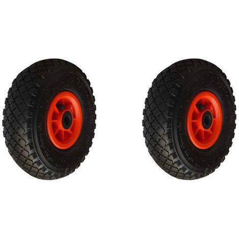 Lot deux roues gonflable diable 260x85mm (3.00-4) à rouleaux alésage 20mm charge 270kg