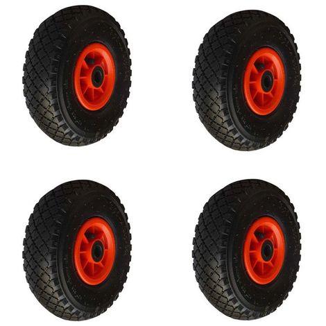 Lot 4 roues gonflable diable 260x85mm (3.00-4) à rouleaux alésage 20mm charge 405kg