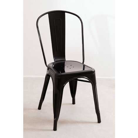 SKLUM Lot de 2 Chaises LIX Noir Salle /à Manger Cuisine Style Industriel Finition Gloss