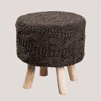 Tabouret Rixar Ronde Basse en Laine et Bois SKLUM Wool - Eucalyptus wood - Noir de Carbone