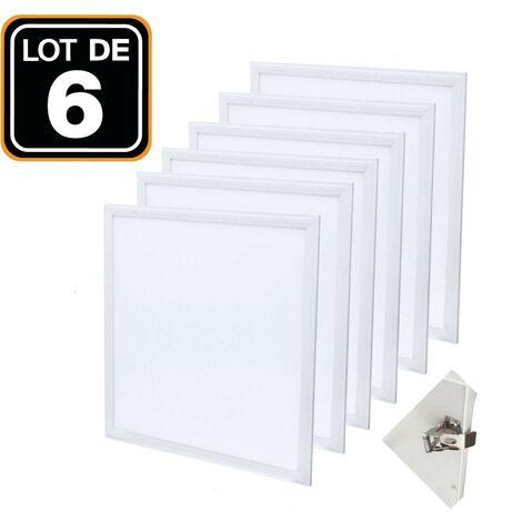 Dalle LED 600x600 40W lot de 6 pcs PMMA blanc froid 6000k + 6 Kits Clips d'encastrement