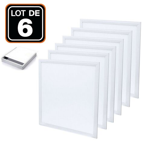 Dalle LED 600x600 40W lot de 6 pcs PMMA blanc Froid 6000k + 6 Kits de pose en saillie