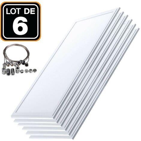 Lot 6 Dalles LED 40W 120x30 PMMA Blanc Neutre 4000k + 6 Kits Câbles de Suspension - Blanc neutre 4000k