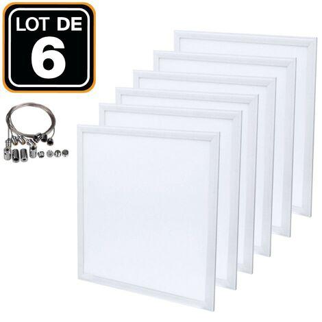 Dalle LED 600x600 40W lot de 6 pcs PMMA blanc froid 6000k + 6 Kits Câbles de Suspension Dalles Led