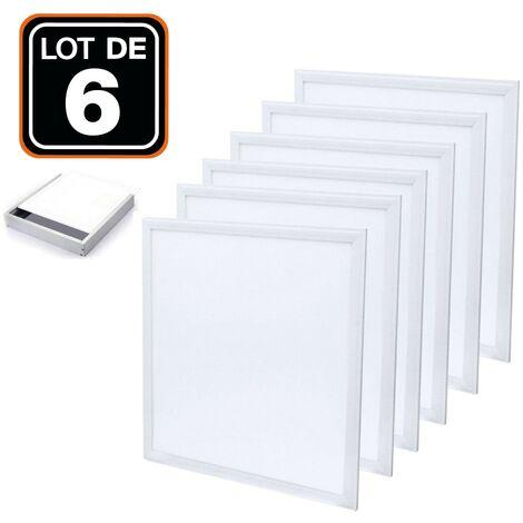 Dalle LED 600x600 40W lot de 6 pcs PMMA blanc neutre 4000k + 6 Kits de pose en saillie