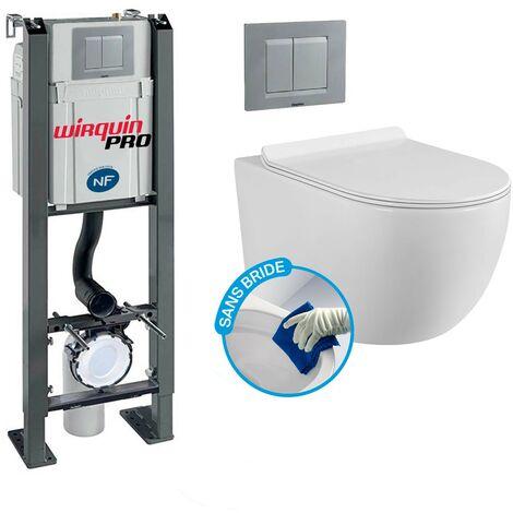 Pack Complet WC Sans Bride Bati Autoportant + Cuvette sans bride + Plaque Chromée modele CHRONO