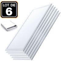 Lot 6 Dalles LED 40W 120x30 PMMA Blanc Neutre 4000k + 6 Kits de pose en saillie - Blanc neutre 4000k