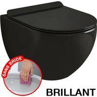 CONFORT - WC noir suspendu sans bride avec fixations invisibles + abattant ultra fin déclipsable + frein de chute