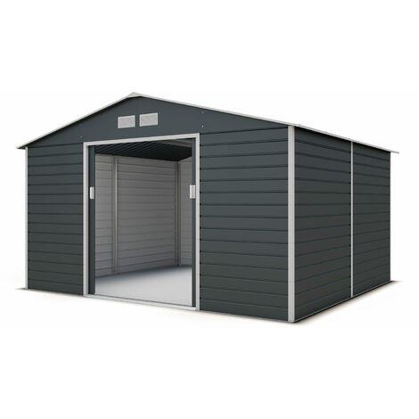 Abri de jardin métal anthracite 10,20 m² + kit d'ancrage