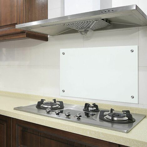 Bc-elec - AKG06-12052 Küchencredenza Matglas 120x50cm, gehärtetes Sicherheitsglas 6mm, Spritzschutz, Haubenboden - Weiss