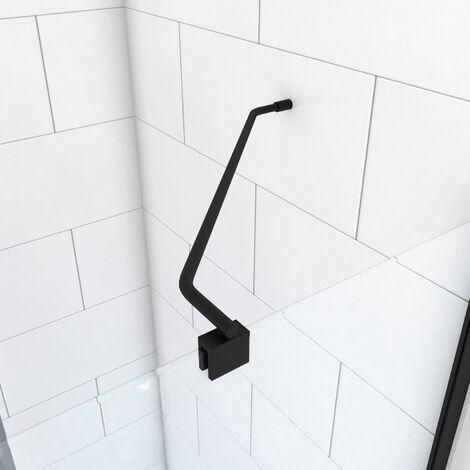 Barre de fixation d'angle noir mat pour douche a l'italienne - BARRE DE FIXATION MURALE D'ANGLE