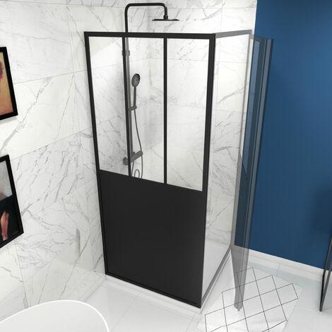 Paroi de retour type atelier 80x200cm - PAROI DE RETOUR - PROFILE NOIR MAT - verre transparent 5mm