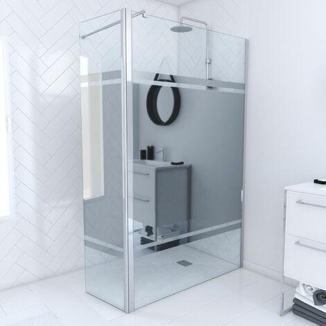 Pack paroi de douche 120x200cm effet miroir et profile chrome + volet pivotant
