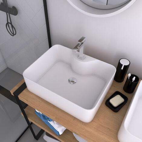 Vasque à poser rectangle en céramique - 48x37x13.5cm - RECTANGULAR