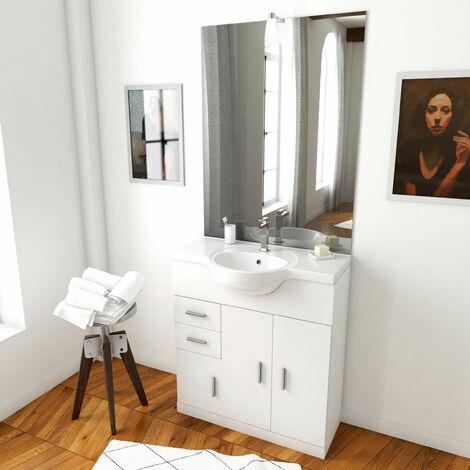 Meuble salle de bain blanc 80 cm sur pied + vasque ceramique blanche + miroir led