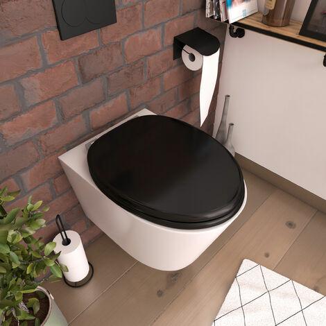 Abattant pour WC Noir - en MDF et charnières en métal réglable - SIMPLE DARK - Noir