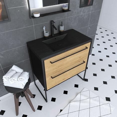 Meuble de salle de bain 80x50 cm NOIR MAT - 2 tiroirs chêne brun - vasque résine noir effet pierre