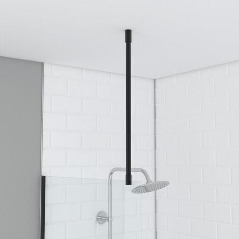 Barre de fixation plafond pour douche a l'italienne laque NOIR MAT - 60cm RECOUPABLE