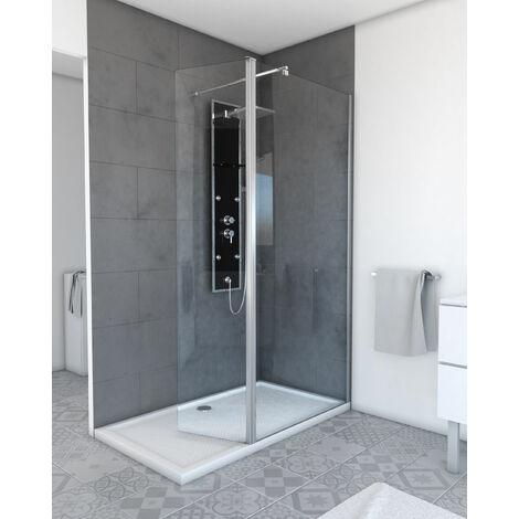 Volet pivotant pour paroi de douche a l'italienne transparent - 40x200cm VERRE TRANSPARENT 6mm