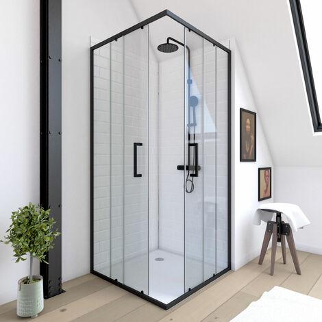 Paroi porte de douche carree - 90x90x200 cm- PROFILE NOIR MAT - verre transparent 6mm