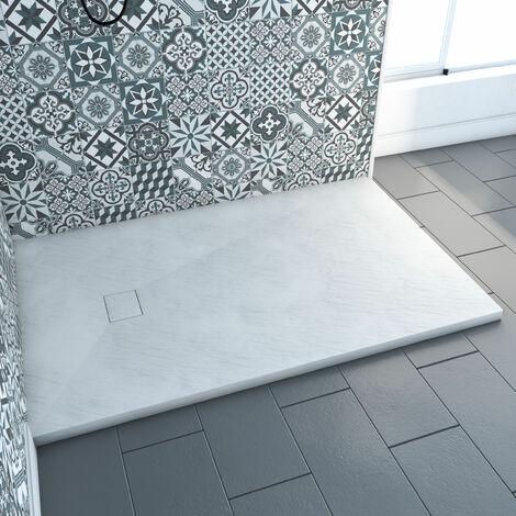 receveur a poser en materiaux composite smc finition ardoise blanc mat 80x120 cm