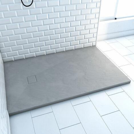 Receveur à poser en matériaux composite SMC - Finition ardoise grise - 80x120cm - ROCK 2 GREY 80