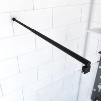 Barre de fixation extensible 70-100cm noir mat pour douche a l'italienne - fixation murale
