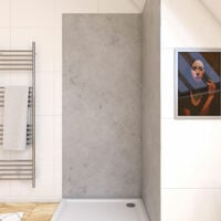 Panneau mural de douche finition Beton en composite pierre et ciment - 90 x 210 cm