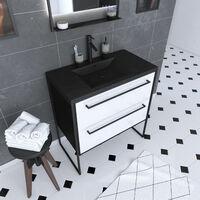 Meuble de salle de bain 80x50 cm Noir MAT - 2 tiroirs BLANC - vasque résine noire effet pierre