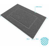 Tapis de bain 60x90cm Antidérapant et 100% Coton - VELOUTE GRIS - Gris
