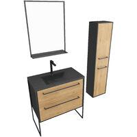 Ensemble Meuble de salle de bain blanc 80cm + vasque noir effet pierre + miroir + colonne rangement
