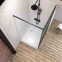 Pack Paroi de douche 90x200 cm noir mat + Receveur a poser carre blanc finition pierre