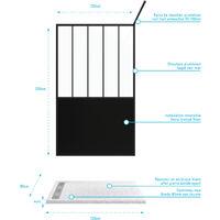Pack Paroi de douche 120x200 cm noir mat - verre trempe 5mm + Receveur extra plat à poser - caniveau