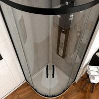 Paroi porte de douche quart de cercle 90- 90x90x200cm - PROFILE NOIR MAT - verre transparent 6mm