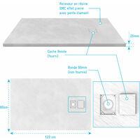 Receveur a poser en materiaux composite SMC - Finition ardoise blanc mat - 80x120 cm