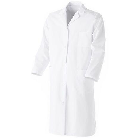 Blouse blanche en coton Manches longues et fermeture pressions protection bactéries - Mixte Blanc 6 (60-62) - Blanc